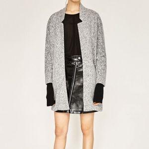 Zara Gray Marled Midi Coat M